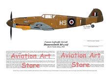 DISCOUNT! RAF Bf-109, Signed by R.A.F. Ace, Aviation Art, Ernie Boyette