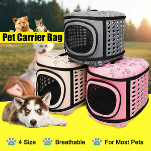 Dog Cat Pet Puppy Folding Portable Carrier Crate Kennel Bag Cage Travel GOO