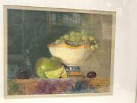 "Original Oil Painting 8x10"" Still Life Fruit Bowl Signed Matted Framed 14x15"""