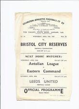 Charlton Athletic v Bristol City 19 April 1961 Reserve Match Single Sheet