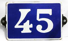 Old blue French house number 45 door gate plate plaque enamel steel metal sign