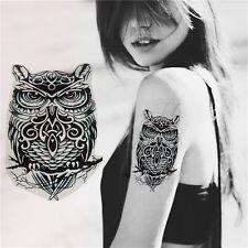 1X Large Owl Pattern Totem Arm Body Back Temporary Tattoo Sticker Waterproof