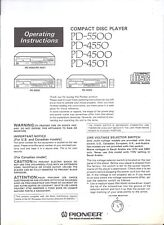 PIONEER CD Player PD-5500 / PD-4550  Operating Instructions Vintage Manual