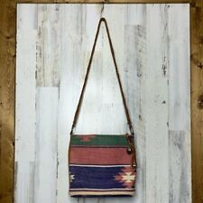 Southwestern style canvas leather crossbody bag