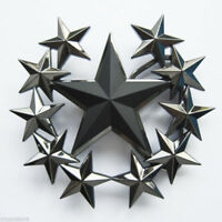 Black Star Stars Rock Biker Metal Belt Buckle