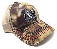 KRYPTEK GAME FISH SKELETON FISHING ANGLER MESH TRUCKER ADJUSTABLE HAT CAP CAMO