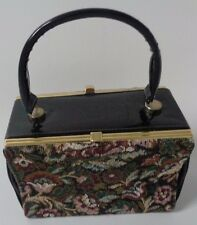 True Vintage elbief england 1960's tapestry and patent two sided black handbag