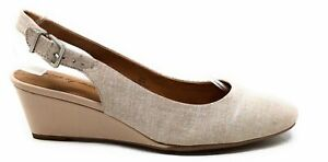 Easy Spirit Womens Safra Slingback Wedge Sandals Taupe Leather Size 8.5 Wide
