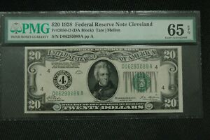 "1928 Fr 2050-D $20 PMG 65 EPQ GEM Cleveland ""Numerical"" with Gold Clause"
