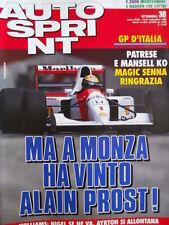 Autosprint n°38 1992 Gp Italia Patrese e Mansell Ko domina Ayrton Senna  [P10]