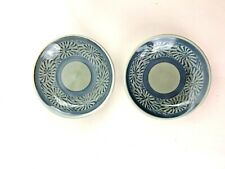 """2 Celadon Small 3.5"""" Plates with Blue Snail Pattern Sushi or Brush Water Euc"""
