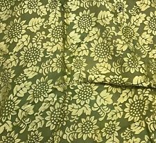 Hand Dyed Burnout DEVORE Silk SATIN Fabric Avocado Green Sunflowers By The Yard