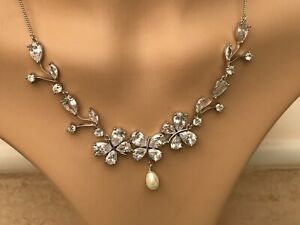 Jon Richard Silver Plated Cubic Zirconia & Pearl Decorative Necklace BN Tagged