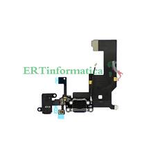 FLAT DOCK USB CONNETTORE NERO DATI RICARICA MICROFONO ANTENNA RICAMBIO IPHONE 5
