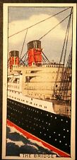 RMS QUEEN MARY  Cunard Liner  The Bridge   Original 1930's Vintage Card