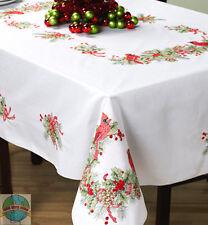 "Cross Stitch Kit ~  Wintertime Cardinals 52"" x 70"" Christmas Tablecloth #86367"