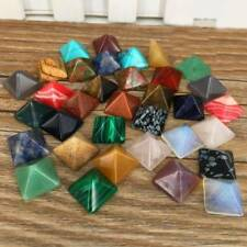 Set of 7 Chakra Pyramid Stone Lot Crystal Healing Wicca Natural Spirituality