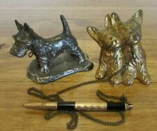 Vintage Brass Scottie Dog Figurines One With Mechanical Pencil Japan
