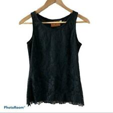 Patricia Wolf Black Lace Overlay Sleeveless Tank Top Size Small - Made in Texas