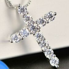 1.00 Ct Diamond Cross Pendant Solid 14K White Gold Certified Excellent Round Cut