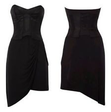 KAREN MILLEN black corset grecian drape silk blend dress size 10 taken in size 8