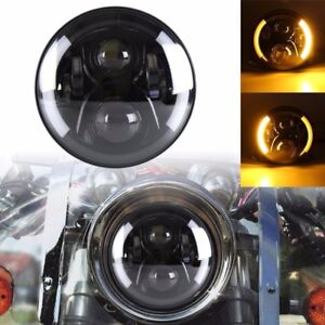 7inch Motorcycle Projector Black LED Headlight + Integrated DRL & Turn Signals