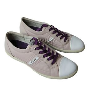 ECCO Womens Golf Casual Hybrid Lace Shoes Leather Pink Spikeless EU 40 US 9/9.5
