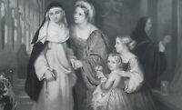 MONASTERY LIFE Nun Visited by Sister & Children - SUPERB 1856 Antique Print