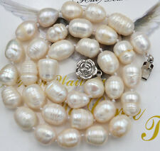 "NEW BEAUTIFUL 10-11MM SOUTH SEA BAROQUE WHITE PEARL NECKLACE 18"" AAA +"