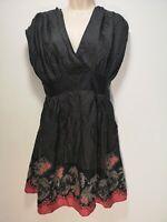 Ted Baker Black Spotty Floral Sleeveless Silk A-Line Dress - Size 8* (876g)