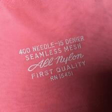 Vintage Nylon Stockings Blush Pink Seamless Mesh Rt 15 Denier Size 9 1/2 Nos