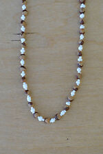 """32"""" White Navajo Ghost/Cedar Beads Necklace. Juniper Berry by L. Bitsoie"""