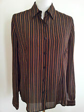 Effortless Style! Liz Jordan size 10 black striped shirt in excellent condition