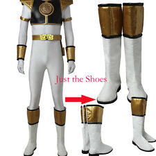 New Mighty Morphin Power Rangers Tommy Oliver white ranger Cosplay Boots Shoes