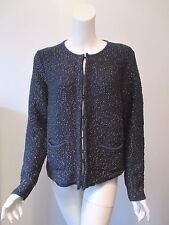 NWT Boden Navy Gold Metallic Hook Front Wool Knit Sweater Jacket fits 12/14 US