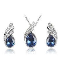 Fashion Women Wedding Silver Jewelry Set Crystal Necklace Pendant Rhinestone New