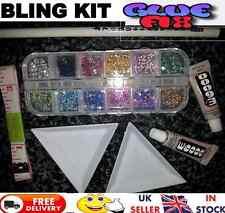 E6000 Rhinestone Starter kit with 2 mini glues box of gems trays picker & tape