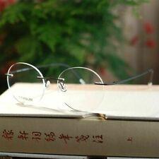 Black Pure Titanium Rimless Steve Round Folding Optical Eyeglasses Frames RX