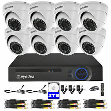 Eyedea 3500TVL 8 CH 1080N DVR CCTV Security Dome Camera Night Vision System 2TB