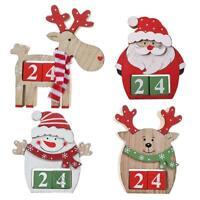 Wooden Christmas Calendar Santa Claus Pendant Home Desktop Ornament Craft  UK