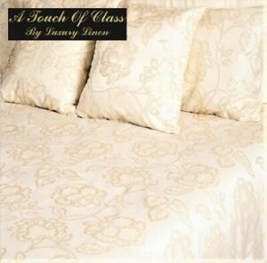 5' King Size FLORAL (Hotel Quality) DUVET COVER + PILLOW CASES (Gold Sparkle)