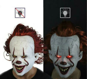 Adult Pennywise IT Clown Mask Deluxe Latex Over Head Halloween Horror Mask W/LED