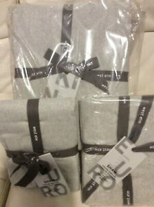 West Elm One Organic Solid Flannel King Duvet & 2 Euro Shams Frost Gray NWT
