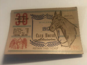1947 Hialeah Racetrack Clubhouse Admission Ticket