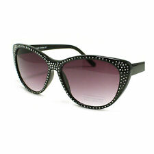 Womens Cat Eye Sunglasses Vintage Bling Bling Fashion Frame Black