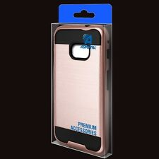 ROSE GOLD BLACK BRUSHED HYBRID IMPACT COVER CASE FOR SAMSUNG GALAXY Xcover 4  *