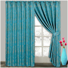 Pair Of Jacquard Pencil Pleat Curtains Tape Top Lined 66x72 & 90x90 + 2 TieBacks
