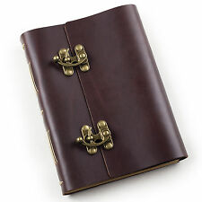 Ancicraft Leather Journal Diaries with Cool Clasp Lock A5 Lined Craft Paper Gift