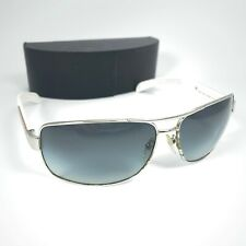 PRADA SPS 541 White & Silver 1BC-3M1 Aviator Sunglasses Grey Gradient Lens I4-15