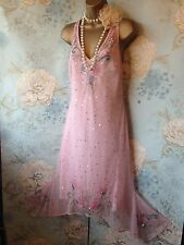 new gibson girl pink vtg lace bead 20s deco gatsby Flapper evening  dress 12 40